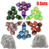 Top Quality 42pcs 6color Dice Set With Nebula Effect Poker D D D4 D6 D8 D10