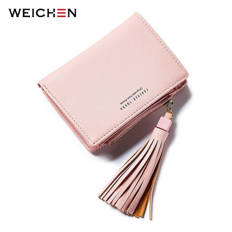 WEICHEN Pink Tassel női pénztárcák márka tervező cipzár érme zsebkártya tartó rövid női pénztárca divat női pénztárcák