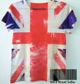 Track Ship+Vintage Retro Modern Cool Rock&Roll Punk T-shirt Top Tee United Kingdom England Britain National Flag Union Jack 0058