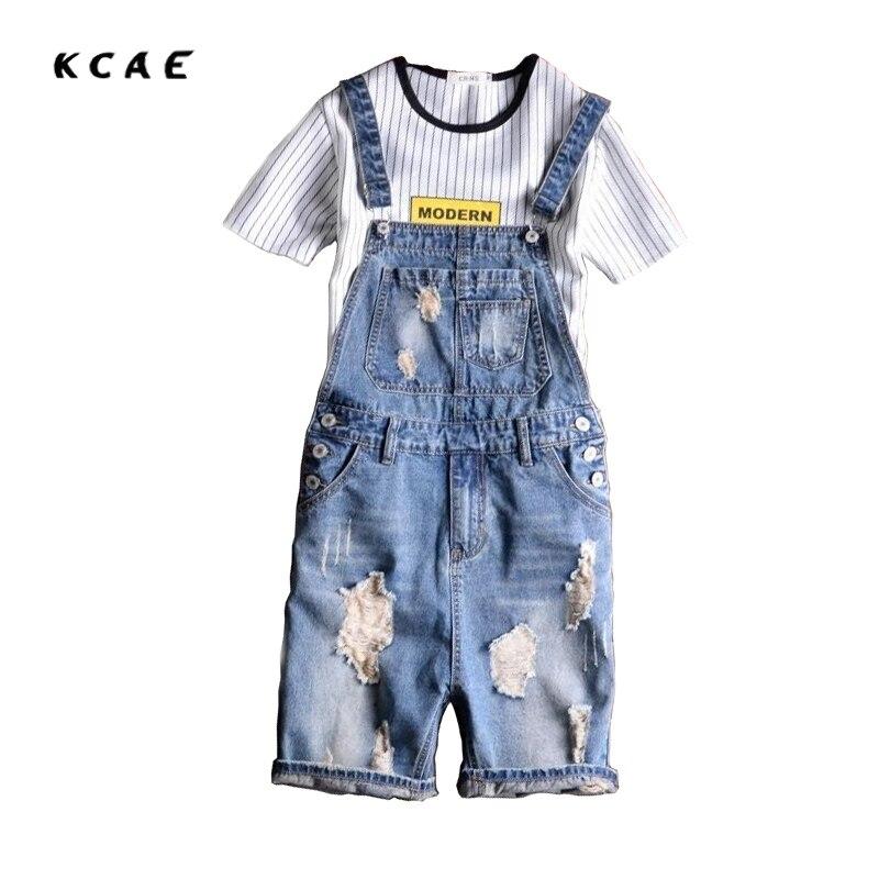 ФОТО Brand KCAE 2017 New Designer Men's Shorts Jeans Pants Fashion Ripped Bib Overalls Jean Short Man Slim Fit Short Jumpsuit