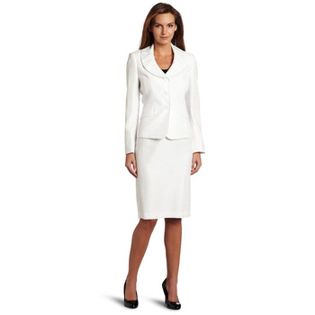 CUSTOM female business skirt suit ivory 2 piece set women office uniform style elegant wedding tuxedo evening formal suits