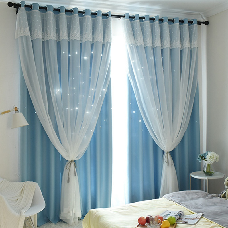 Elegant Window Curtain High Shading Curtain Hollowed Stars Window Tulle Solid-color Window Screening Living Room Decoration(China)