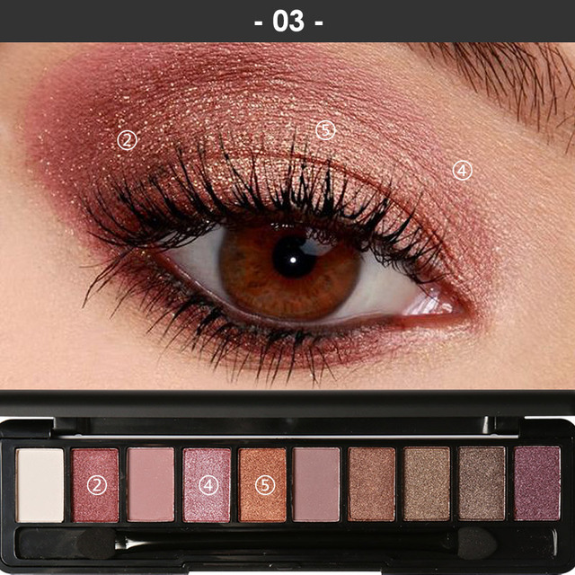 FOCALLURE New Pro 10 Colors Set Women Waterproof Makeup Eyeshadow Palette Eyebrow Eye Shadow Powder Cosmetic with Brush 2