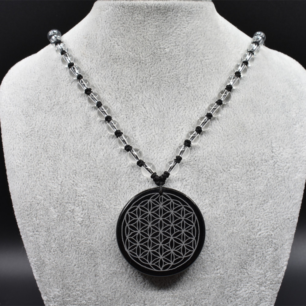 Natural crystal Obsidian Pendant Necklace Pendant Pendant of the flower of life and peace The original rock of natural crystal pair of starfish shape earrings for women