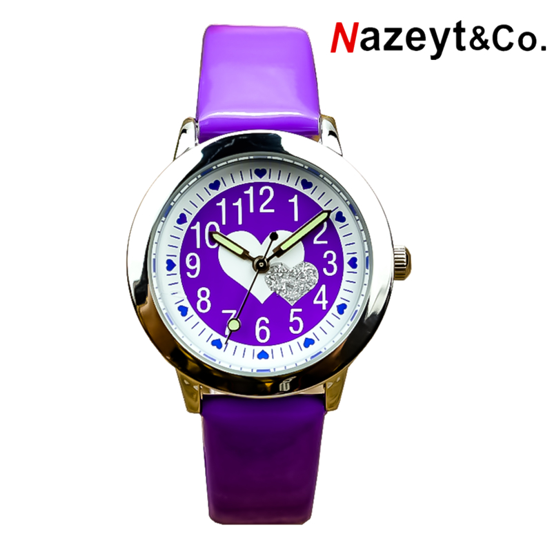 Free Shipping Middle And Little Kids Jelly Watch Boys And Girls Cute Heart Dial With Jewel Luminous Hands Leather Gift Clock
