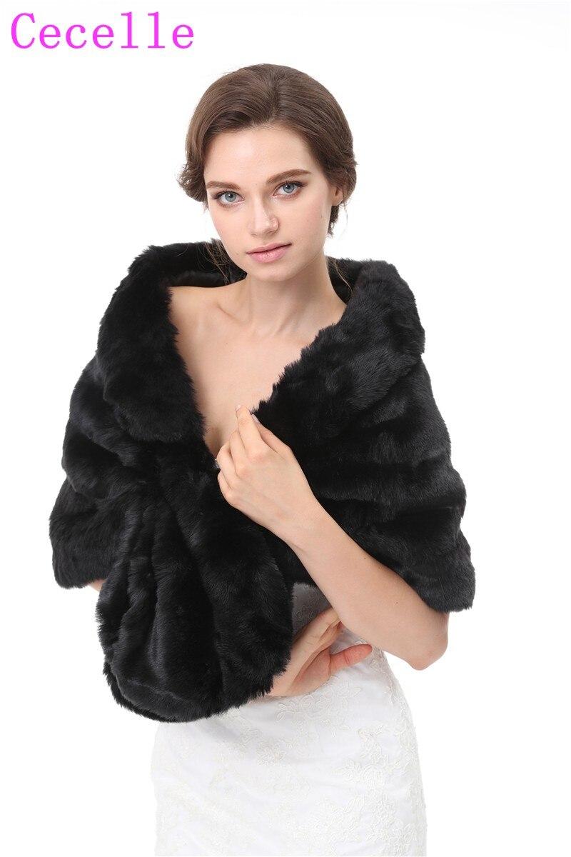 Black Short Faux Fur Bridal Wraps For Women Winter Fur Jackets For Lady 2019 Fur Shawls In Black Color Real Photos