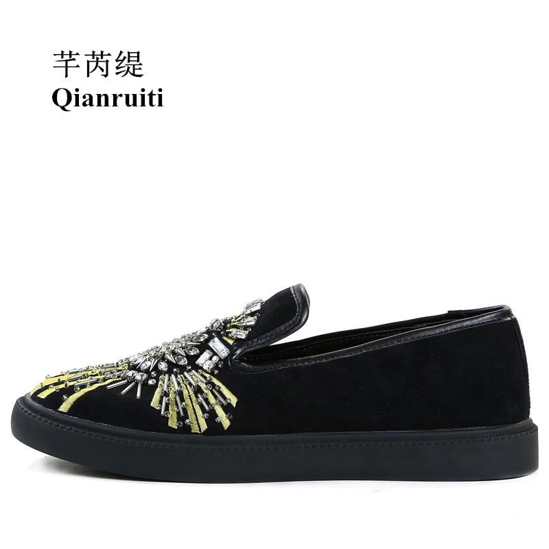 Qianruiti Top Hombres Diamante Split Pista multiple Desfile black Leather Bordado Slip Sneakers 2018 Plana Cristal on De Rhinestone Zapatos Zapatillas Suede Moda Aw74pArq