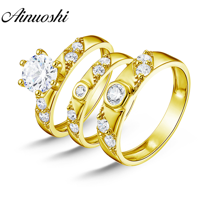 AINUOSHI 7.1g Real Gold TRIO Rings Set Engagement Jewelry 10K Yellow Gold Couple Wedding Rings Wedding Band Bridal Rings Set men wedding band cz rings jewelry silver color anillos bague aneis ringen promise couple engagement rings for women
