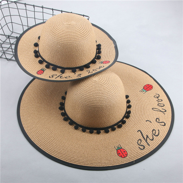 e76fd3b4187 Baby women hats Parenting straw hat mother and daughter summer new English  letter sun hat Korean folding beach cap fishermen hat