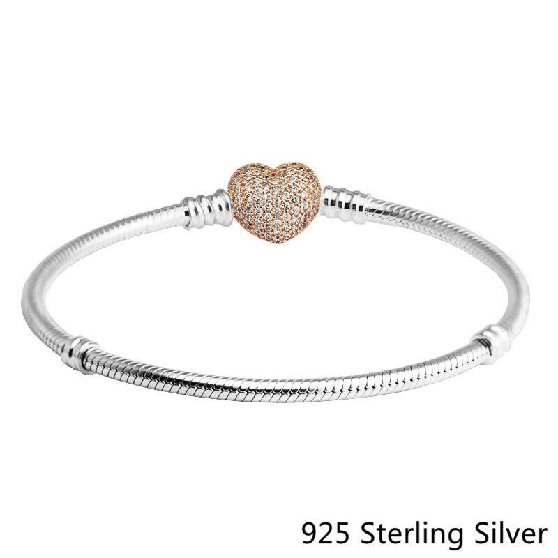 2017 New Unique S925 Sterling Silver Jewelry Charm Gold Heart-shaped CZ Bracelet For Women Fit Original European Bracelet Charm gold plated rhinestone heart circle charm bracelet