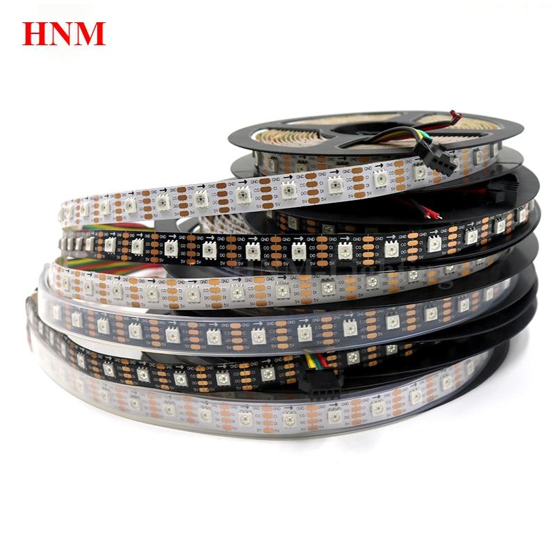5M 72LED s/m HD107S LED lumière de bande, 5050 SMD rvb LED avec IC intégré HD107S (similaire APA102/APA107) blanc/noir PCB, IP20/IP65/IP67