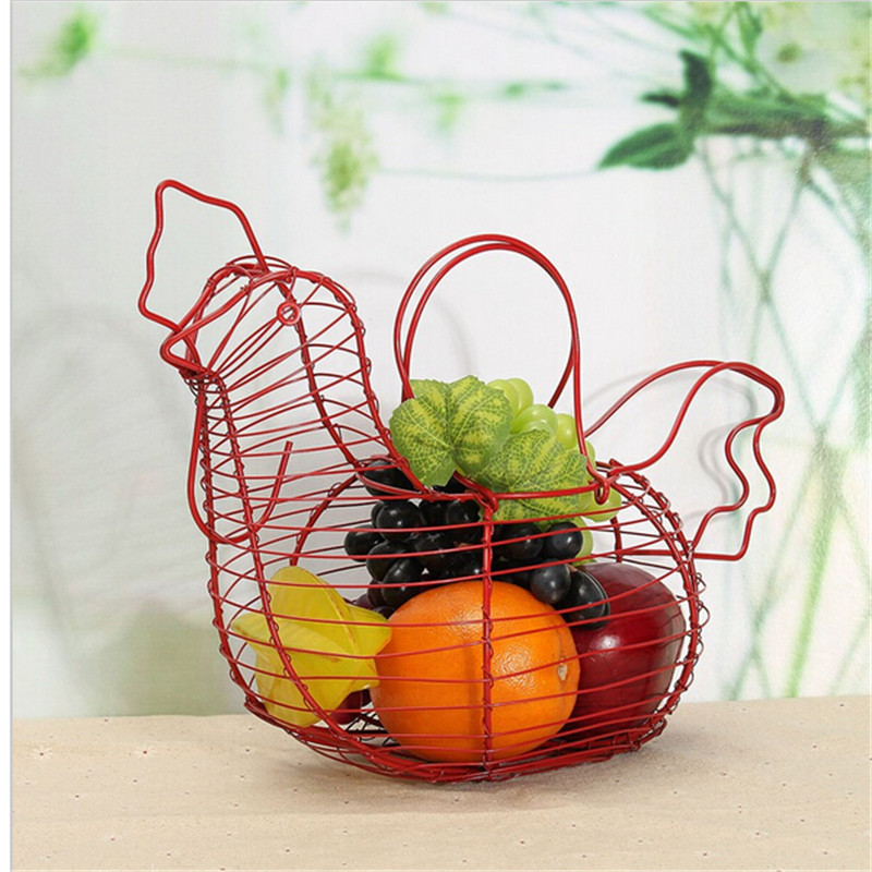 Vintage Wire Metal Egg Basket Country Hen Shape Multi Use Egg Fruit  Vegetable Storage Rack Organizer Home Kitchen Gadgets Decor In Storage  Boxes U0026 Bins From ...