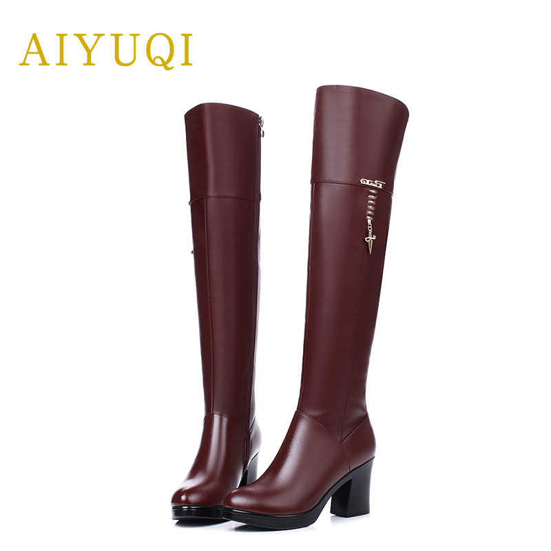 AIYUQI 2019 ใหม่ของแท้หนังแต่งงานรองเท้าผู้หญิงสีแดงสีดำสตรีเข่าสูงรองเท้าแฟชั่นฤดูหนาวรองเท้าผู้หญิง