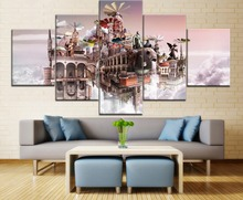 5 Pieces Framework HD Printing Canvas Painting Abstract Artistic Tourism Castle Type Poster Home Room Decor Modern Living