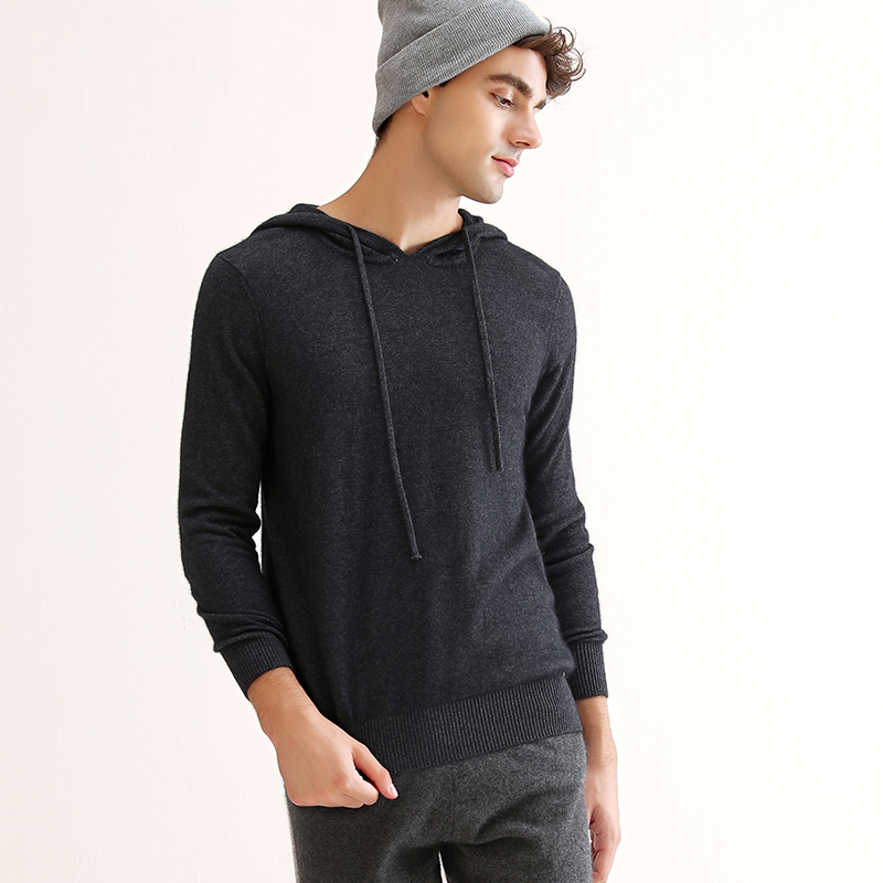 2018 New Autumn Winter Pullover Hooded Deep Gray Cashmere Sweater