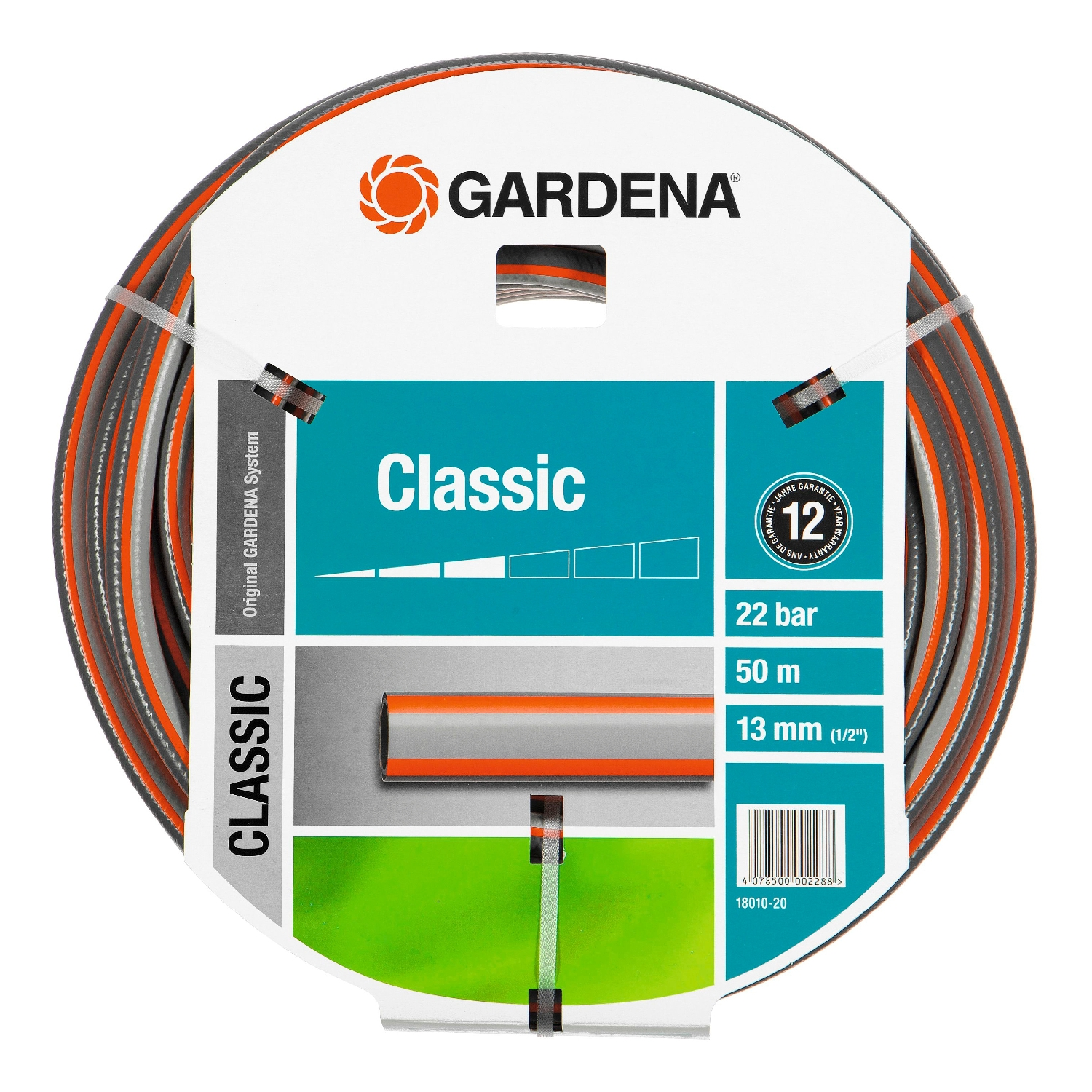 Watering hose GARDENA 18010-20.000.00 (20 m Length, diameter 13mm (1/2) maximum pressure 22 bar, reinforced, светонепроницаем, resistant to uv) стоимость