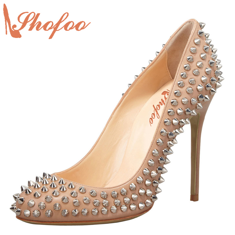 Shofoo Women Fashion 12cm High Heels Sexy Round Toe Slip-on Shoes Pumps Witn Rivets Party Dress Wedding Pumps  Large Size 4-16 fashion slip on brand shoes crystal buckle high heels casual round toe women pumps embroidery party sandals chinese style l29