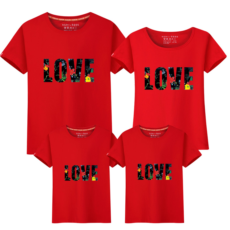 Family Matching T-Shirts Women Men Boys Girls Funny Short Sleeve Full and Low Battery Print Summer Tops