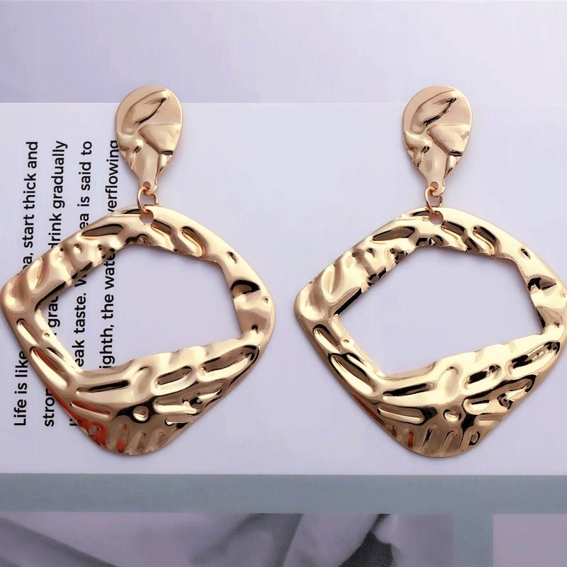 Gold Geometric Drop Earrings Silver Color Round Pendant Earring For Women Big Exaggerated Geometric Elegant Gift Jewelry Earring
