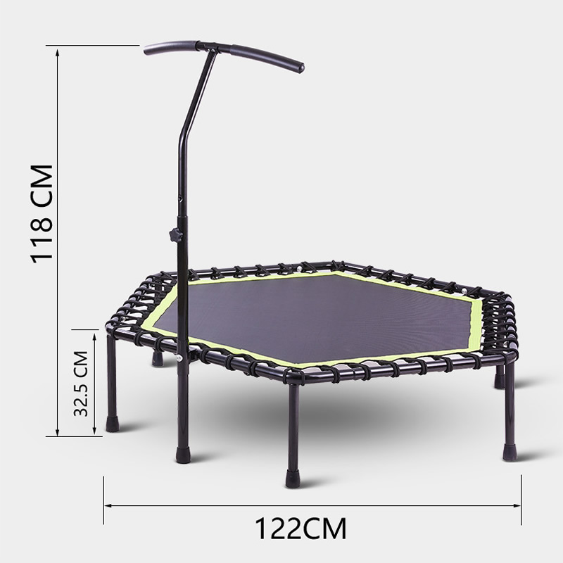 48 Inch Hexagonal Muted Fitness Trampoline with Adjustable Handrail for Indoor GYM Jump Sports Adults Kids Safety 4