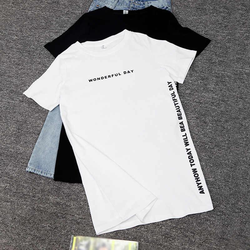 Donne Casual di Grande Formato di Estate T-Shirt T-Shirt Lunga T-Shirt Lettera Split top Nero Bianco Coreano Camicette 2019 di Modo Maglietta Lunga