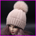 Real Fur Pompom Winter Hats For Women Cashmere Wool Knit Beanie Cap Fox Fur Pom Bobble Hat 2016 FURANDOWN