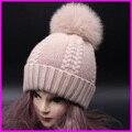 Verdadeiro Fur Pompom Chapéus de Inverno Para As Mulheres Caxemira Lã Knit Beanie Cap Chapéu de Pele De Raposa Pom Bobble 2016 FURANDOWN