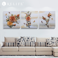 70x70cm Resin Flower Oil Painting Frameless Picture On Wall Acrylic Modular Paintings Wall Art Home Decor