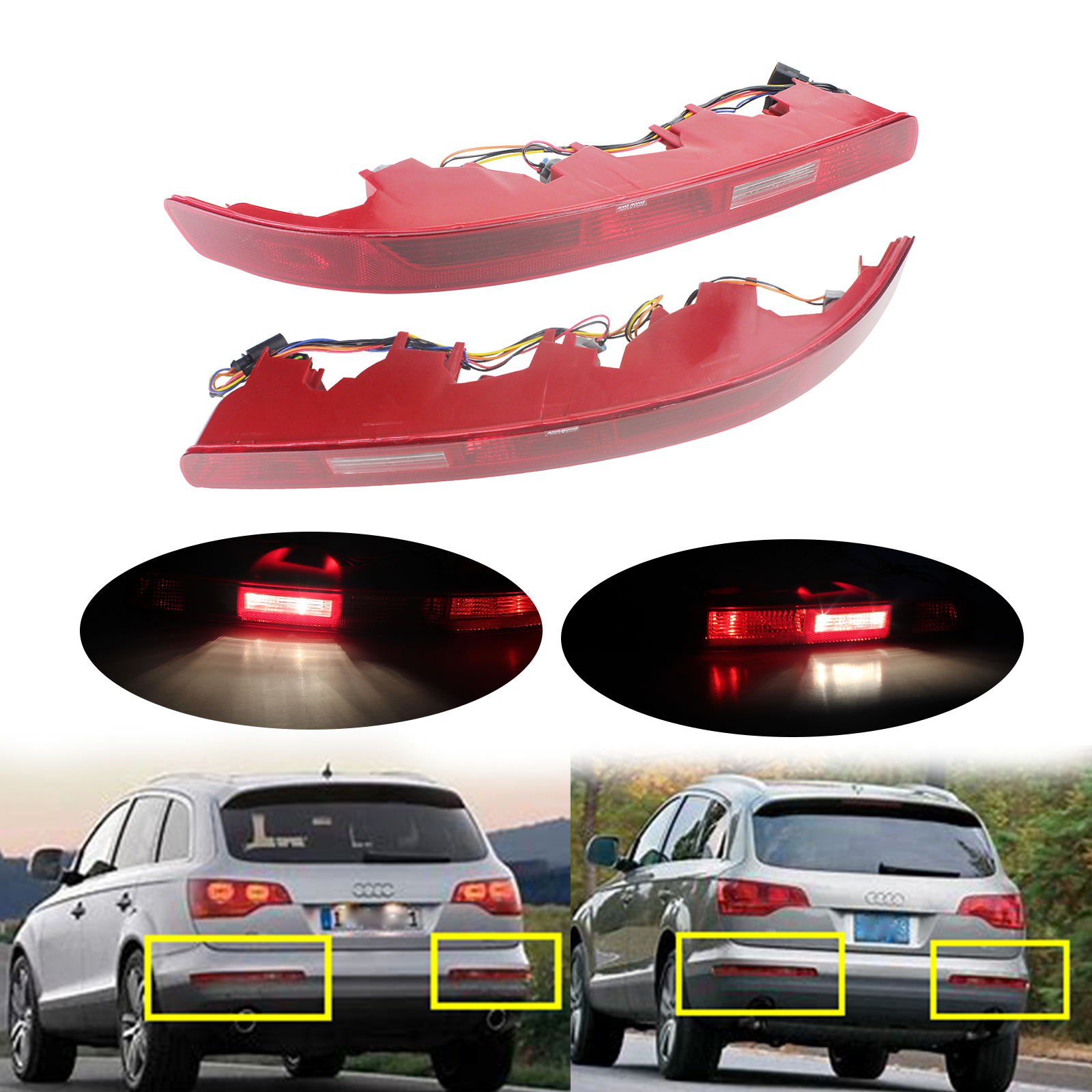ANGRONG 1 Pair For Audi Q7 Rear Bumper Reflector Tail Brake Stop Light Lamps w Bulbs