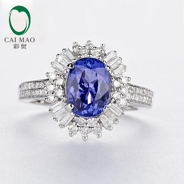 Joyería 14kt Oro Blanco Diamante Natural y 2.33ct Caimao Azul Tanzanita Anillo de Compromiso
