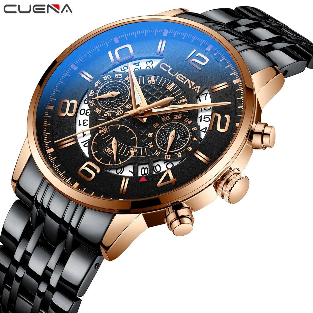Luxus Uhren Für Mann Mode Sport Edelstahl Armbanduhr Chronograph Quarz Uhr Horloge Waterdicht Heren Mit Kalender