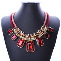 Trendy Necklaces Pendants Rope Collar 18K Gold Plated Crystal Statement Bling Fashion Necklace Women Jewelry N2574
