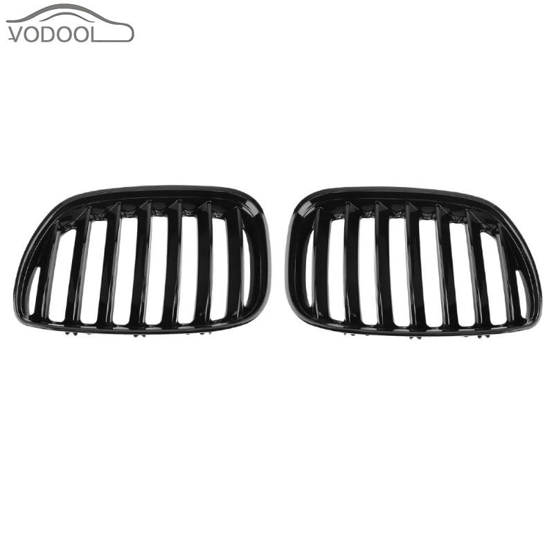 1 Pair Gloss Black Car Front Bumper Kidney Grill Auto Racing Grilles for BMW X5 E53 3.0 4.4 4.6 4.8 2004-2006 Auto Accessories for bmw e53 x5 2004 2006 4dr lci facelift car front grille grills car styling covers grilles