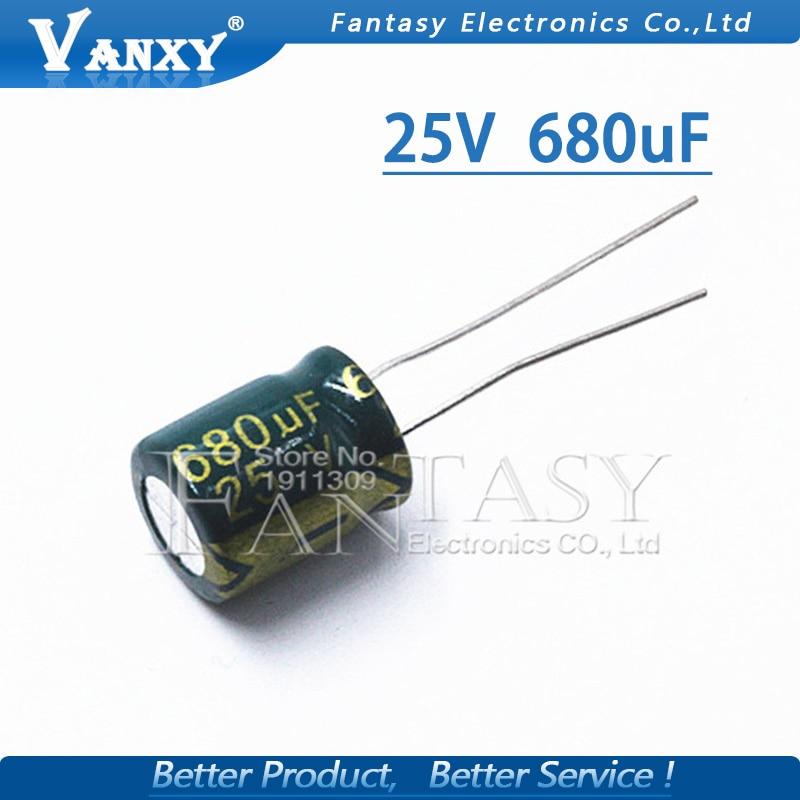 20PCS Higt Quality 25V680UF 10X13 680UF 25V 10*13 Electrolytic Capacitor