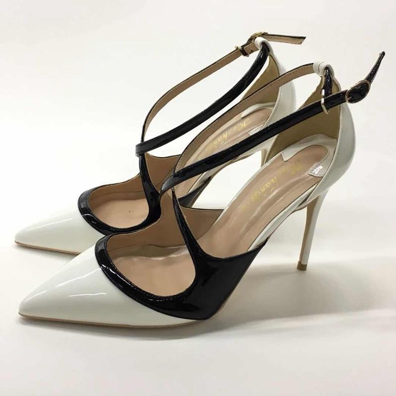 2018 European sexy pu leather high heel ladies pumps nightclub shallow mouth pointed toe heel woman