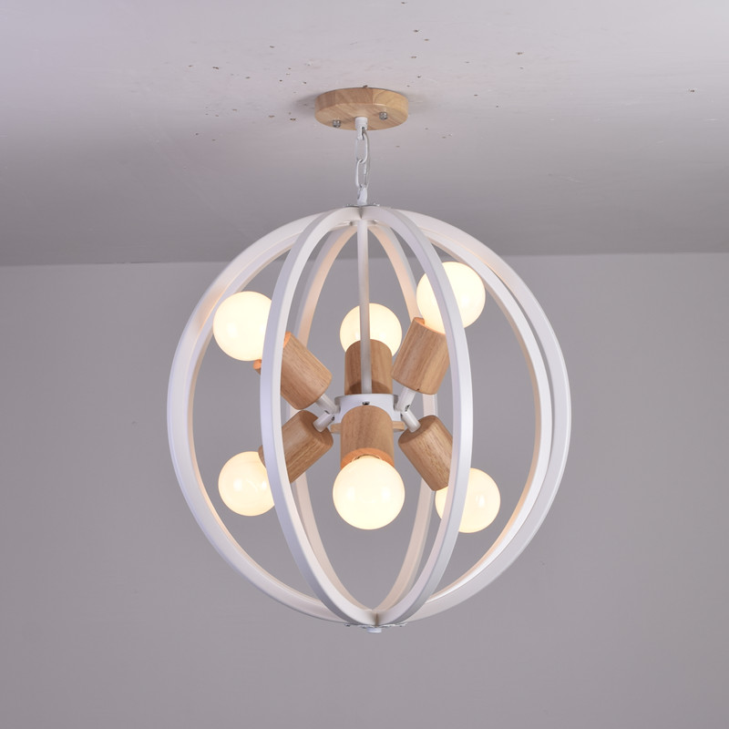 chandelier lamp new Restaurant Nordic wood chandelier American country creative bar LED simple wooden ball shaped 8 head chandelier wood wooden bottle bar restaurant european style of the ancient american country