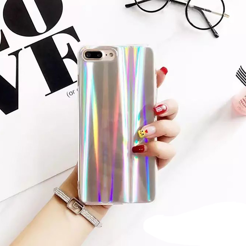 Cool Laser Rainbow Shining Phone Iphone 6 6S 7 8 Plus X Soft TPU Back Cover Bags Coque Fundas I8 Cases
