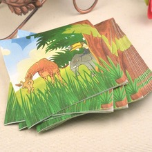 Тканей вуд джунгли салфетка девственницы партия рождения бумаги украшения детей цвет