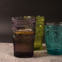 400ML Retro Engraving Sun Flower Emboss Milk Glass Elegant Coffee Cup Zakka Style Round Wine Glasses