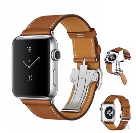 100% Genuine Leather Band For Apple Watch Single Tour Strap For Iwatch 5 4 3 2 1 Wristband Belt For Hermes 38mm 42mm 40mm 44mm