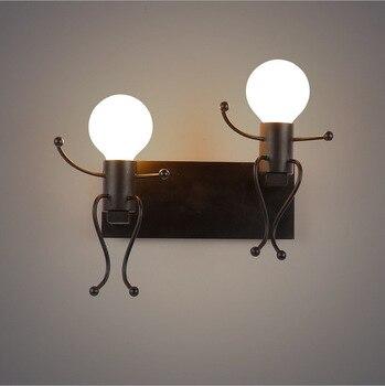 Creative led wandlamp cartoon pop Matchstick Mannen lichten zwart wit rood paar lover kids smeedijzeren metalen E27 Blaker foyer