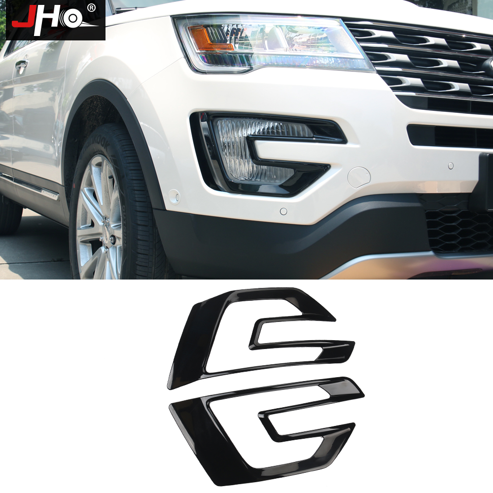 цена на JHO ABS Front Foglight Cover Trim For Ford Explorer 2016 2017 Fog Light Lamp Decor Frame Car Accessories Styling Black/Chrome
