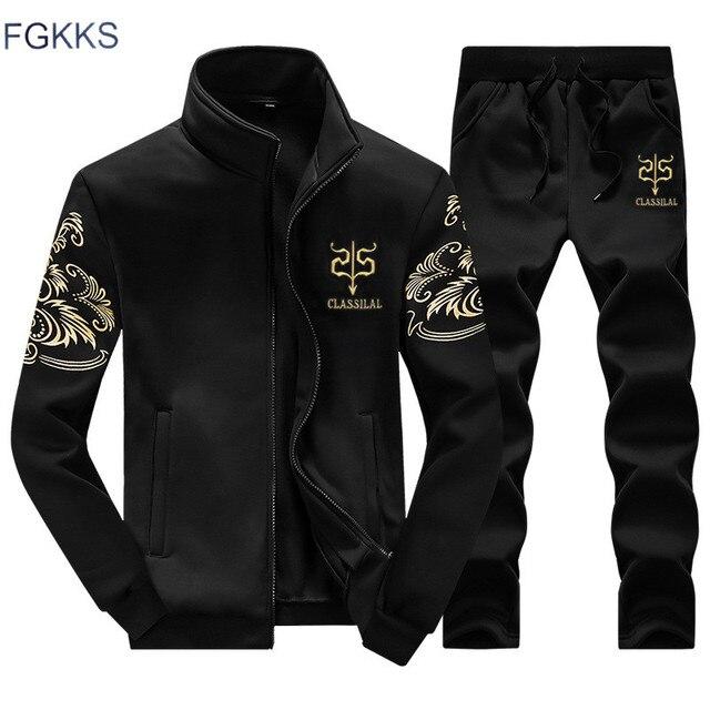 FGKKS Brand New Homens Definir Moda Outono Primavera Terno Camisola + Calças  de Moletom Esportivo 2 515043833557e