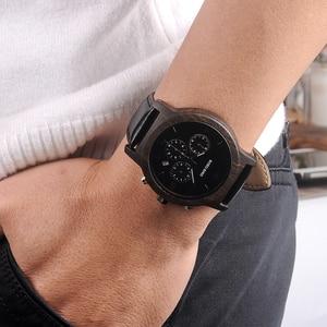 Image 4 - Bobo Vogel WP28 Houten Mannen Horloges Luxe Chronograaf Water Weerstand Quartz Horloge Datum Display Mannen Gift In Houten Gift doos