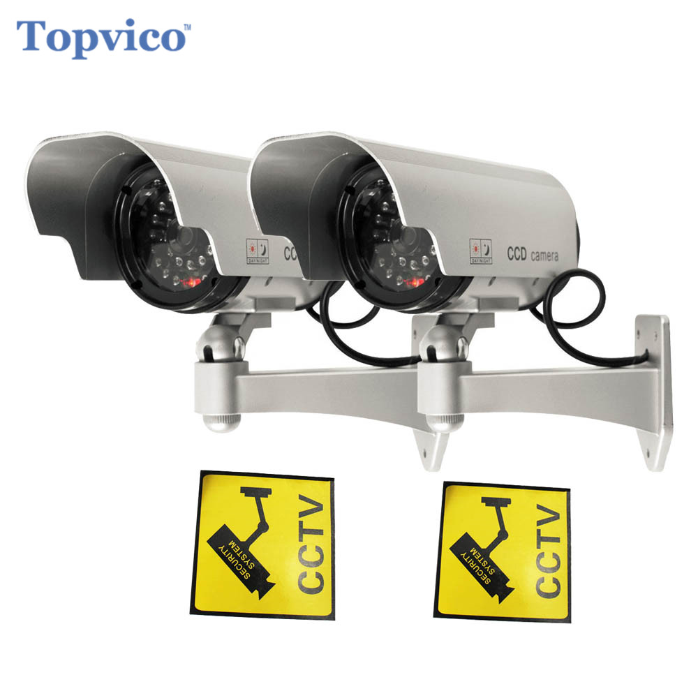 Topvico 2pcs Dummy Camera Solar + Battery Powered Flicker LED Outdoor Fake Home Security Surveillance Camera Bullet CCTV Camera solar power fake dummy outdoor security home cctv camera battery powered flicker led red light home security surveillance camera