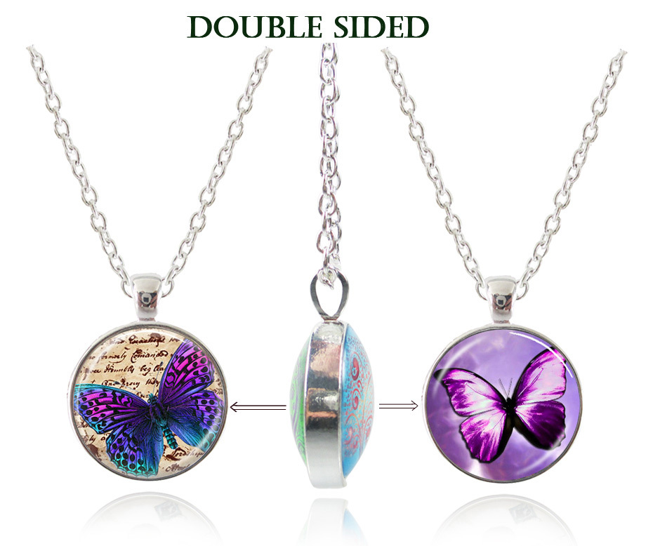 purple butterfly statement necklace 2018 art image glass cabochon necklace silver jewerly double sided necklace women accesoires
