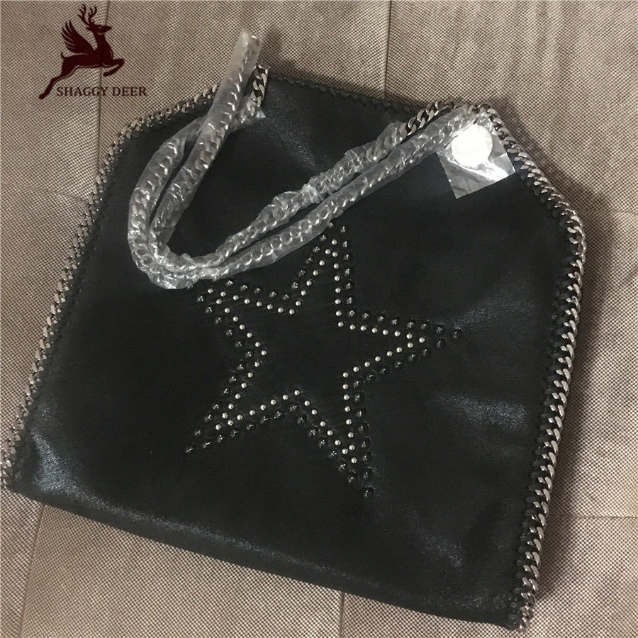 New Brand Shaggy Deer Best Quality PVC Stella Star Shape Rivet Chain Bag fold-over shopping tote ladies handbag big 37cm mini gray shaggy deer pvc quilted chain bag with cover real picture