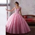 Vestido 15 años rosa Vestidos de Baile de Cristal Baguetes 2017 Manga Curta Vestidos Quinceanera por 16 anos de Desconto Trem Da Varredura Tulle