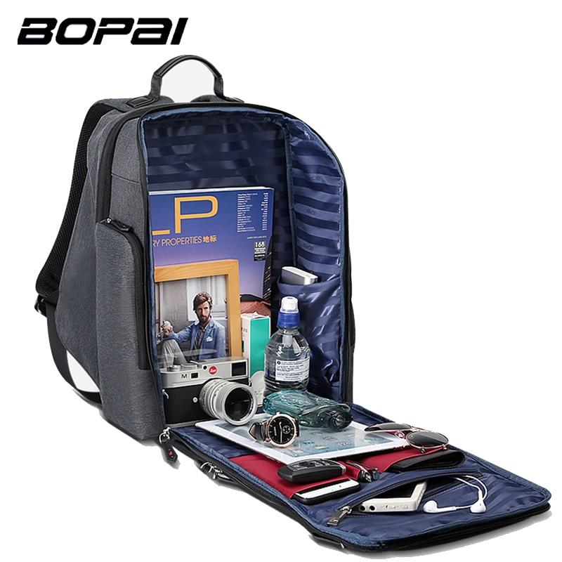 BOPAI 2018 New Men Ryggsäck USB Laddare Väska 15.6inch Laptop ... a0eb1502ec214