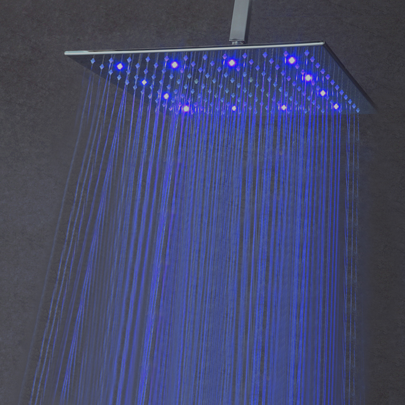 12 Inch Rainfall LED Shower Head Without Shower Arm 30cm*30cm Water Power LED Showerheads Rain Ceiling Showers Polished Finished цена 2017